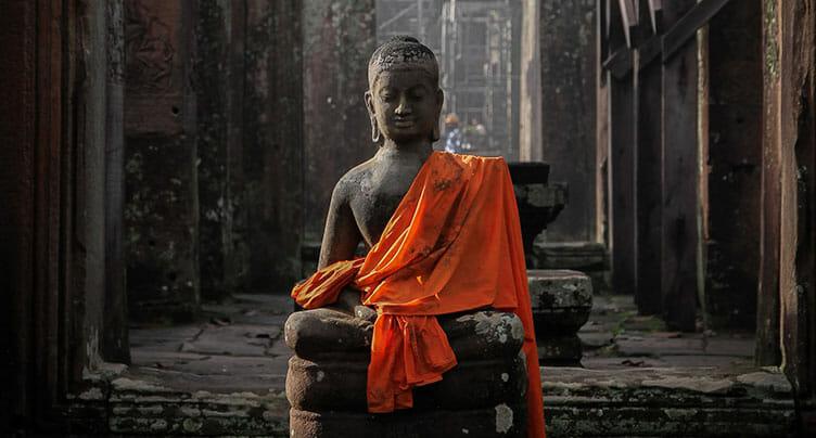 Statue à Angkor au Cambodge