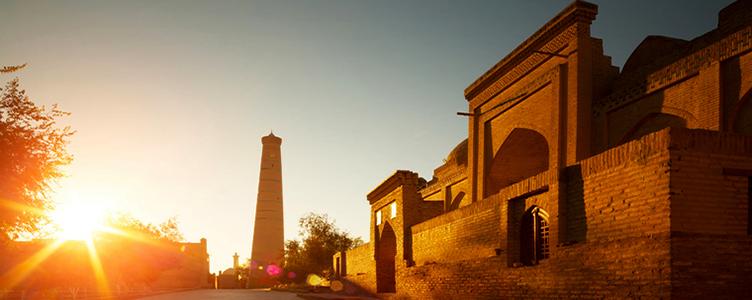 Coucher de soleil à Khiva en Ouzbekistan