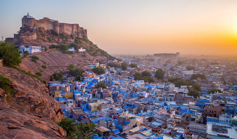 Coucher de soleil sur Jodphur lors d'un voyage en Inde avec Samsara