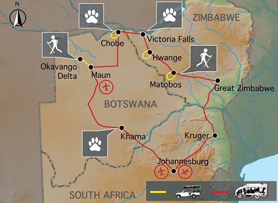 Carte voyage Zimbabwe Botswana Confort