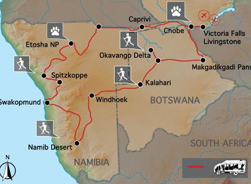 Carte voyage Chutes Victoria Namibie Bostwana