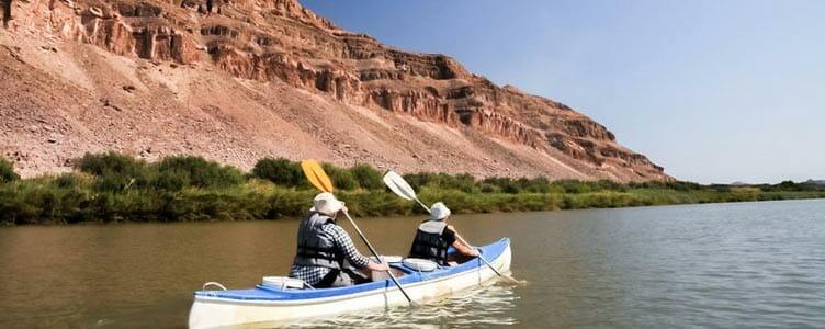 sur la rivière orange en canoe