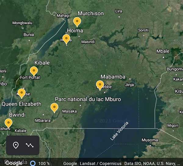 Carte du voyage en Ouganda