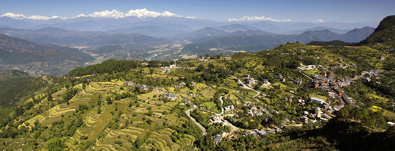 Vue sur la chaine des Annapurnas Pokhara