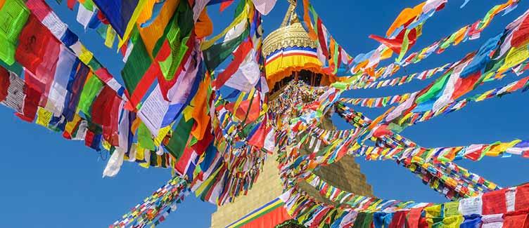 Drapeaux à prières à Kathmandou