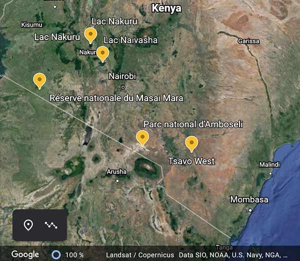 Carte du safari Kenya Esseentiel