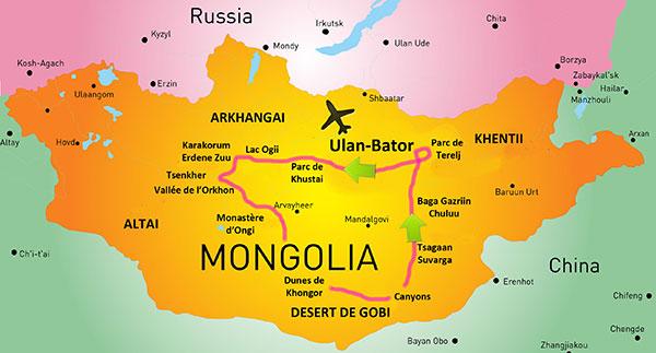 carte de voyage en mongolie