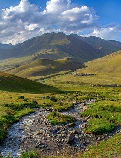 Paysage en voyage en Kirghizie